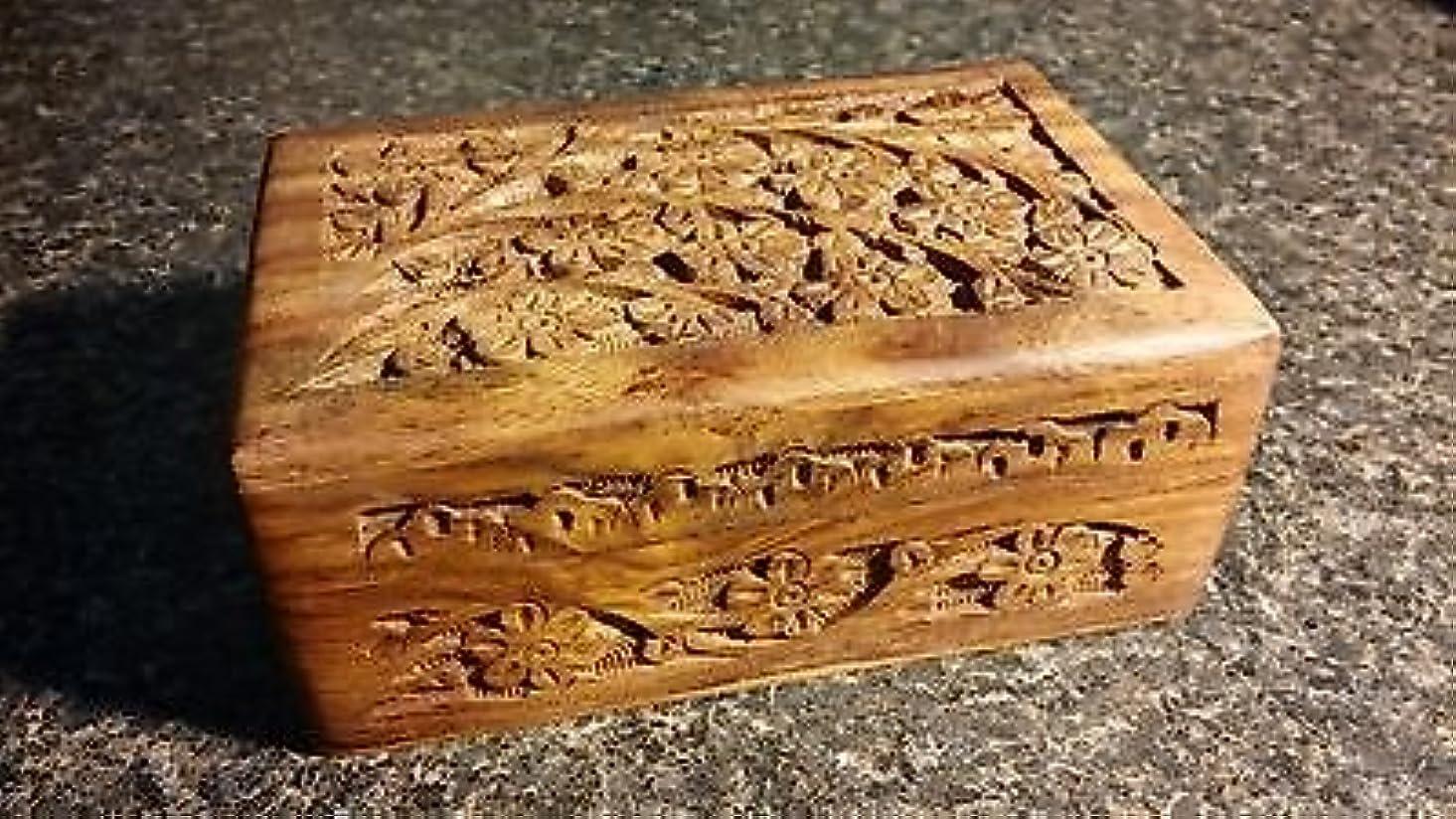 失効第二物理4 x 6 Carved Woodenボックス花柄デザインタロットまたはIncenseボックス/ハーブストレージ~インド