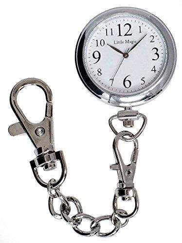 【リトルマジック】見やすい文字盤 3気圧防水 懐中時計 逆さ文字盤 長さの違う3種のチェーン 時計 ポケットウォッチ 日本製クオーツ ナースウォッチ