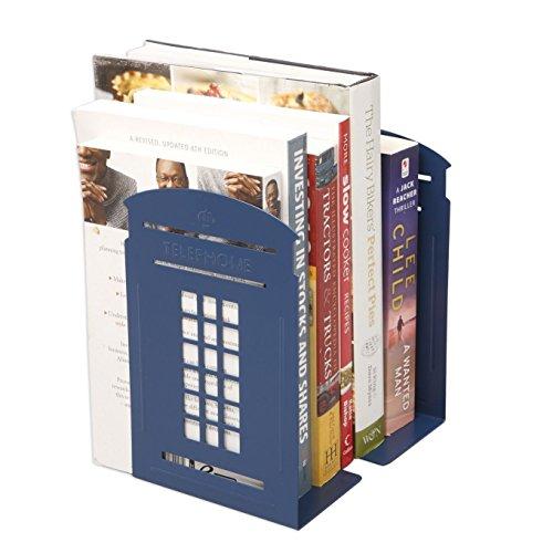 ヨーロッパ風 イギリス 電話ボックス 金属製 ブックエンド 本立て ブックスタンド ブックオー ガナイー 学校 部屋 卓上収納 机と本棚の飾り物 置物 インテリア 青