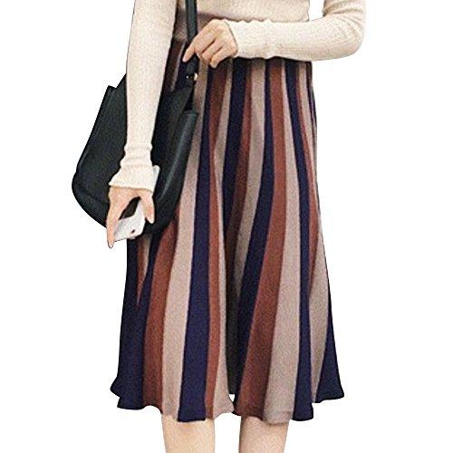 (ノーブランド品) スカート フレアスカート フレア ニット ニットスカート ロング丈 ロングストライプ レディース