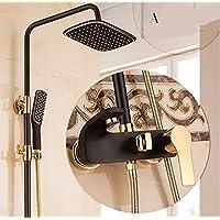 YYF-SHOWER 現代的でシンプルな 壁掛け式 9インチ 上スプレースクエア 滝 バス シャワーセット、 ブラック ABS樹脂 銅継手 1.5mホース、 冷たいお湯 ハンドシャワー シングルハンドル 3ホールマウント ハイエンド ファミリーホテル 蛇口 (色 : ブラック, サイズ さいず : A)