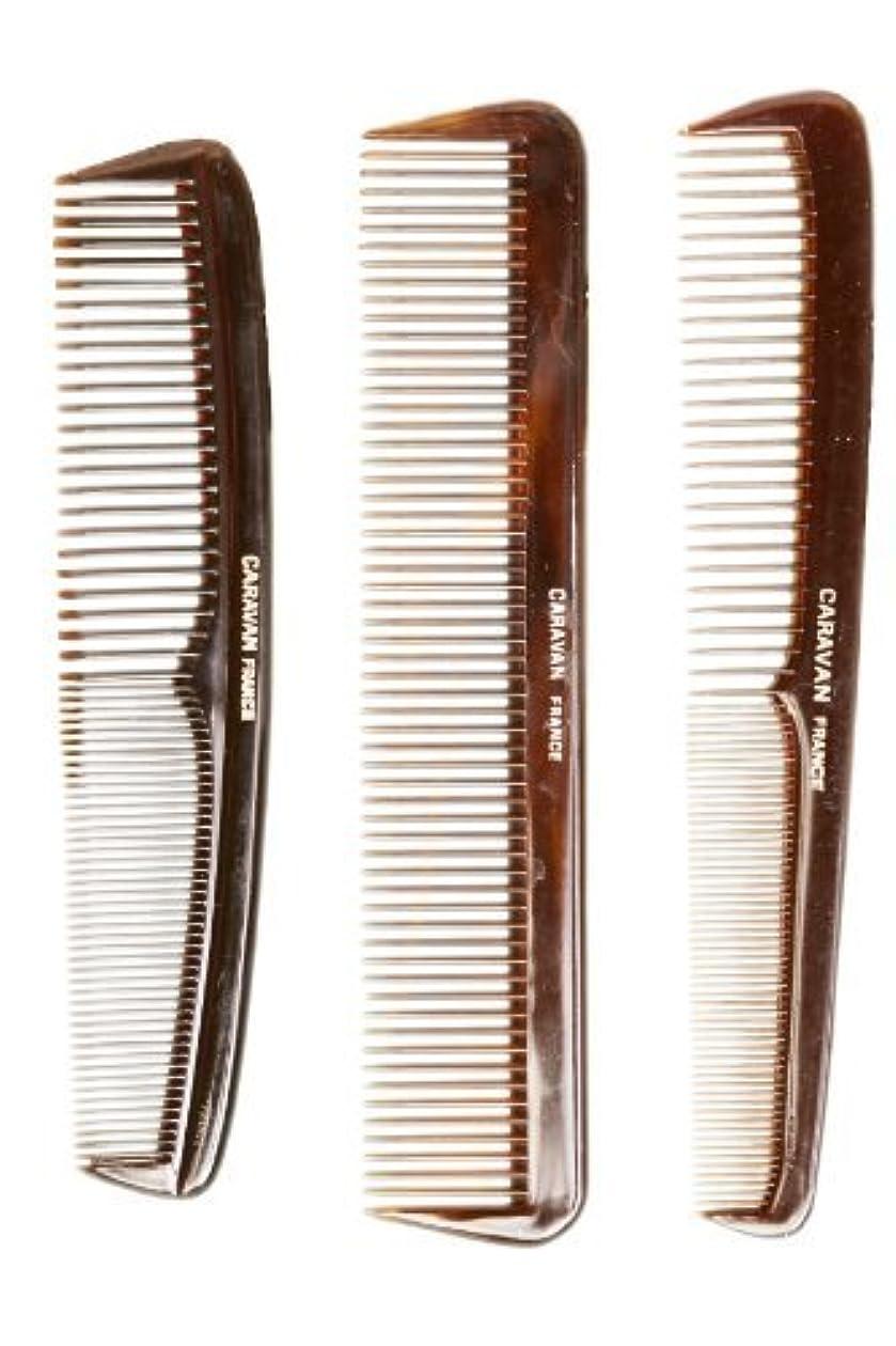 調停するスリットリストCaravan Tortoise Set Of 3 Shell Comb, French Full [並行輸入品]