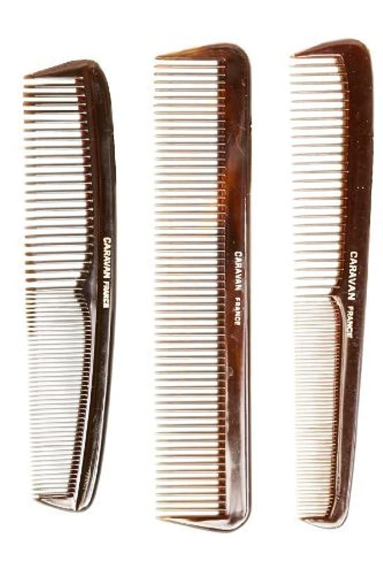 樹木債権者不当Caravan Tortoise Set Of 3 Shell Comb, French Full [並行輸入品]