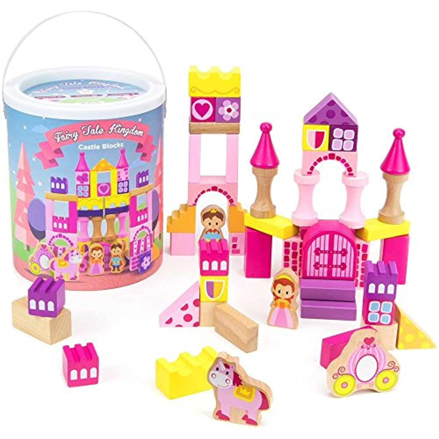 by-imagination世代Girls Toy Playset , 50個プリンセスPrince Fairy Tale Kingdom Kidsプレイセットおもちゃ