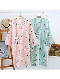 女性の浴衣 きれいな鶴の模様 優雅でかわいい 七分袖 寝スカート 寝間着 部屋着 寝巻き 汗蒸着 綿100% 七分袖