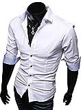 ( UN ANANAS ) NDO196S シンプル 7分 ボタン 綿 ワイシャツ 通勤 男性 メンズ シャツ 会社 おしゃれ スタイリッシュ(ホワイトXL)