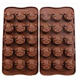 Webake 2Pcs Pig Silicone Fondant Mould Chocolate Candy Molds for Cake Decorating, Silicone Moulds, Baby Food Ice Trays Candy Cookie Cake Topper Jelly Baking Molds