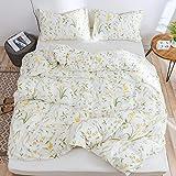 Lurson Botanical Floral Duvet Cover Full Set 100% Organic Cotton Modern Rustic Boho Floral Printed Reversible Bedding Set Whi