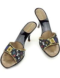 af4b18514d38 (ルイ ヴィトン) Louis Vuitton ミュール シューズ 靴 ブラック ゴールド ...