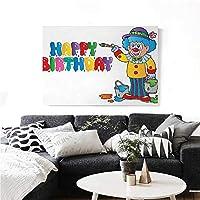"""homehot キッズ 誕生日 モダンキャンバス 絵画 ウォールアート Happy Clown for Party カラフルな絵画スタイル バケット プリントアートステッカー 20x16インチ マルチカラー 24""""x20""""(60cm x 50cm)"""