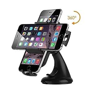 Visenta(ビセンタ) スマートフォン 車載ホルダー 車載用ホルダー 強力ゲル吸盤式 360度回転可 横幅調節可 ブラック