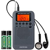 ZHIWHIS ポケットラジオ高感度 FM/AM ワイドfm対応 デジタル 小型ポータブル防災携帯 クロックラジオ 充電式電池式 タイマー機能 チャンネル記録 スピーカーとイヤホン付き
