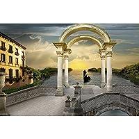 ArtzFolio Gondolier`S Route Unframed Premium Canvas Painting 54 x 36inch