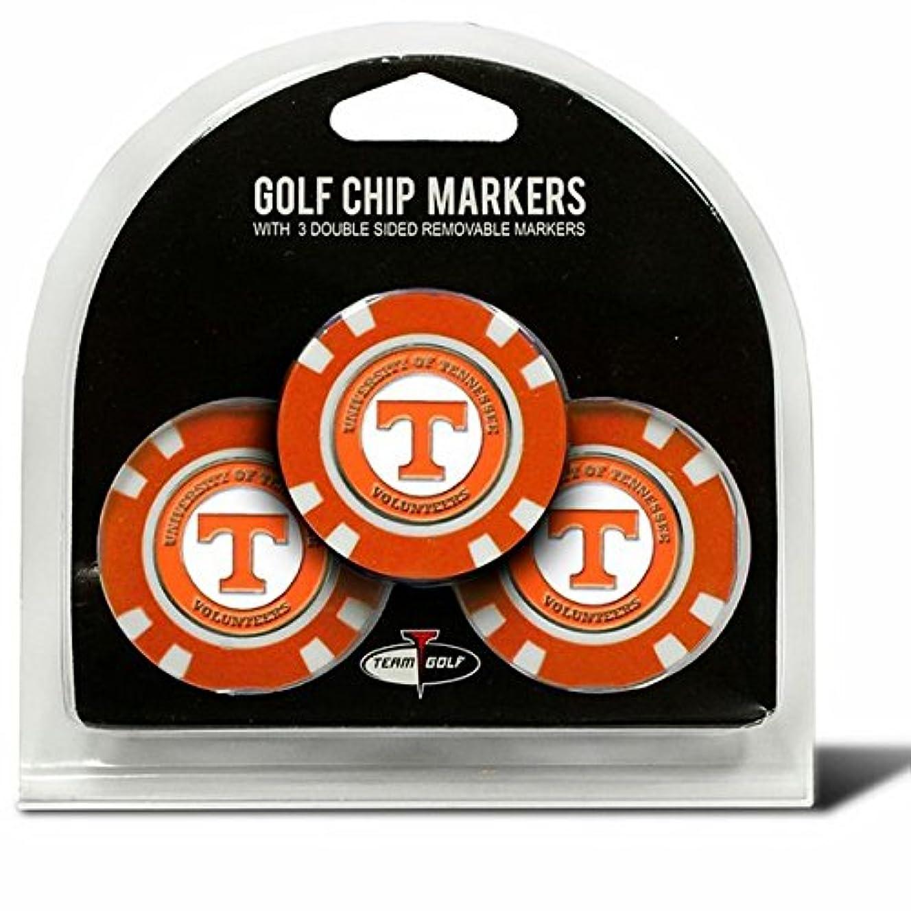 摩擦アイドル花瓶Set of 3大学のテネシーボランティアPoker Chips with removableゴルフボールマーカー