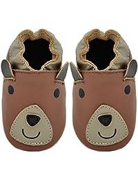 Kimi + Kai Kids Soft Sole Leather Crib Bootie Shoes - Bear