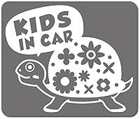imoninn KIDS in car ステッカー 【マグネットタイプ】 No.53 カメさん (シルバーメタリック)