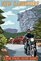 New Hampshire–バイクシーンとOld Man of the Mountain 24 x 36 Signed Art Print LANT-41165-710