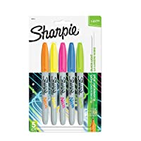 Sharpie Neon Fine Point Permanent Markers 5/Pkg-Orange, Green, Blue, Pink & Yellow (並行輸入品)