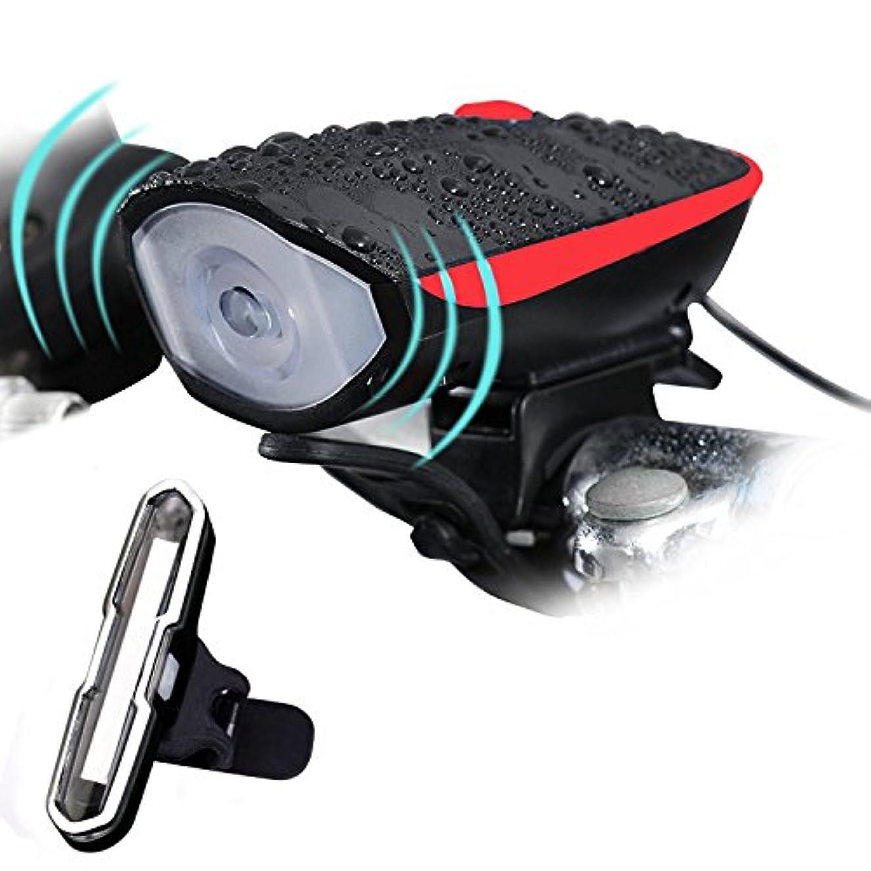 写真撮影傾く爆発自転車ヘッドライト USB充電 自転車 フロントライト 防水性良い 3モード点灯 大音量ベル付き 取り付け簡単 自転車ライト
