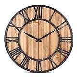 HAMILO 壁掛け時計 木製 アンティーク調 ウォールクロック インテリア時計 ローマ数字