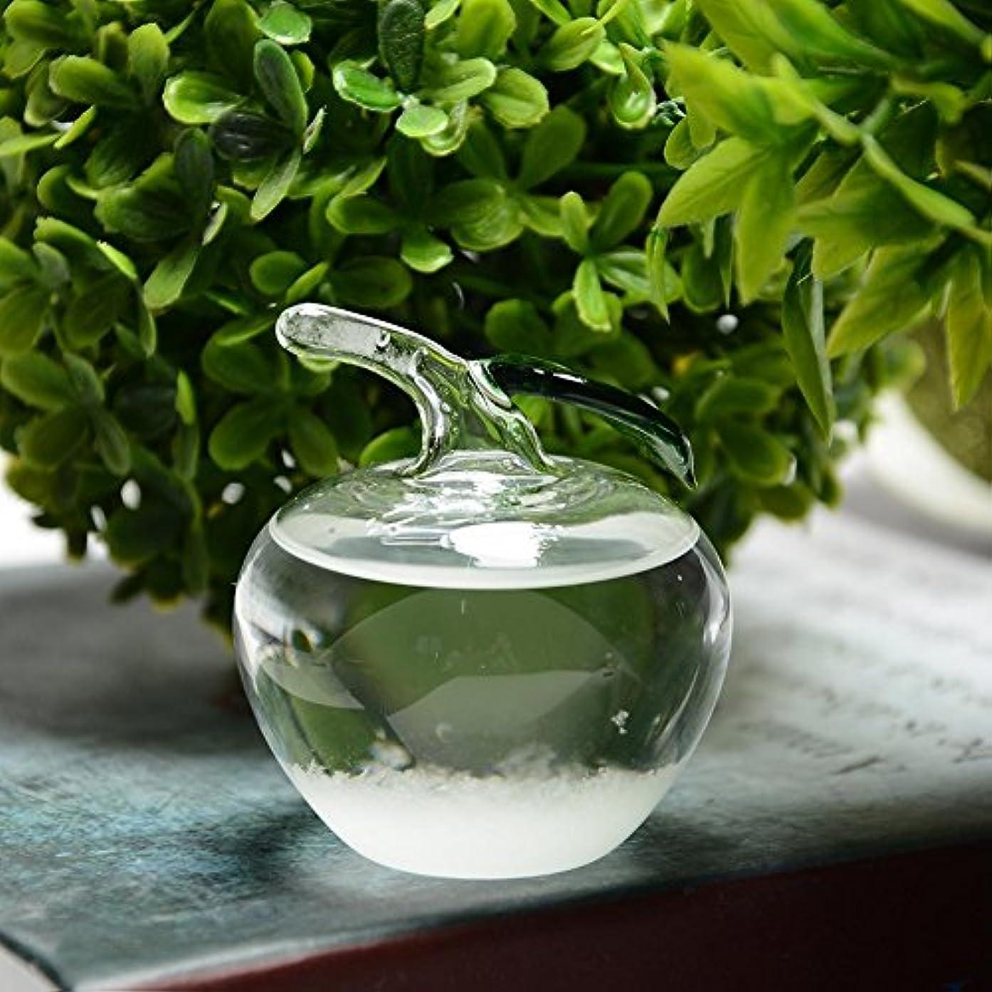 ラインスキップデコードするJicorzo - 小さなクリスタル天気予報ボトルガラスストームボトルホームオフィスの装飾のギフト[ミニアップル]