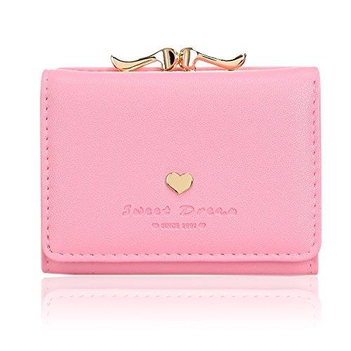 ミニ財布 レディース 人気 KQueenstar 小さい財布 がま口 カワイイ レザー コンパクト ハート ウォレット カード小銭入れ 女性用 プレゼント 明るい ピンク