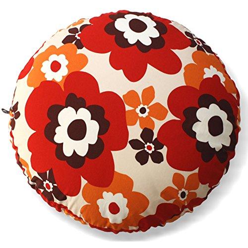 アウトスタイル ビーズ クッションカバー 円型 63cm 綿プリント 北欧 マリメッコ 調 レッド