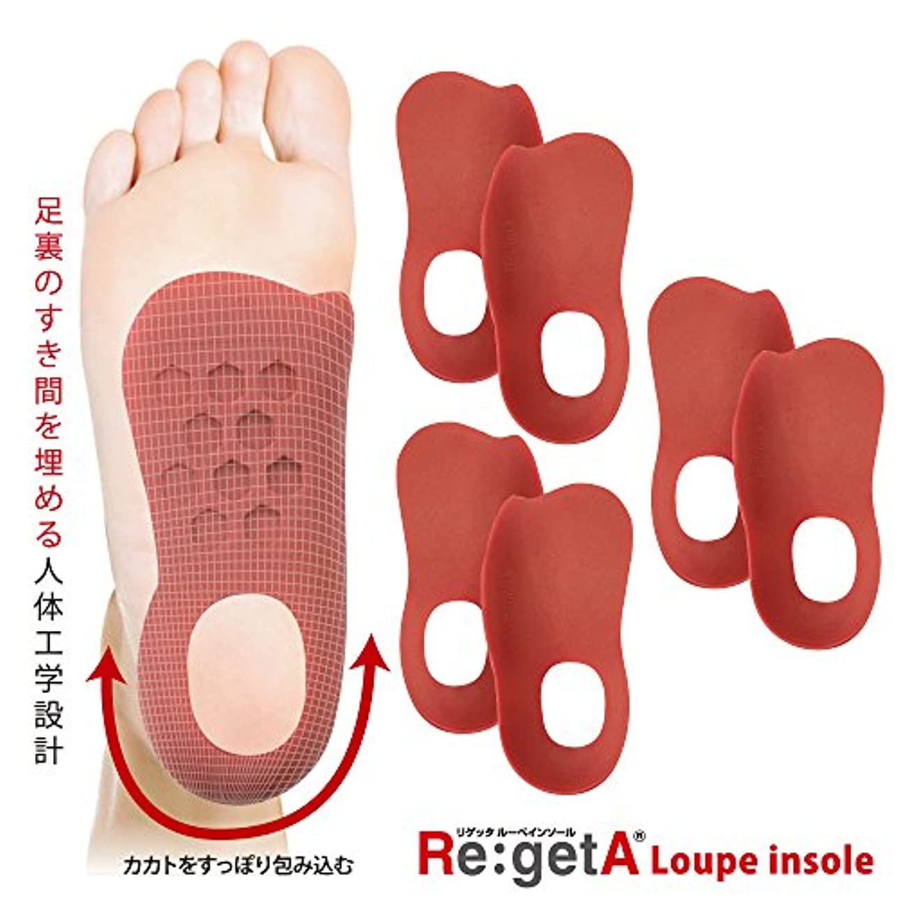 に負けるどのくらいの頻度で耐えられるリゲッタ(Re:getA) ルーペインソール ロッソ 3足組 レディスサイズ 21.5-25.0cm対応