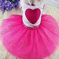 ペット犬子犬猫レースのスカートのプリンセスチュチュドレス夏の服アパレルサプライHondenkleding RoupaパラCachorroマントチェン:レッド、XXL