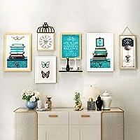 フォトフレーム, マルチ額縁セット、レトロハンギング絵画時計の組み合わせレストランのソファの背景の壁の装飾画 (Color : C)