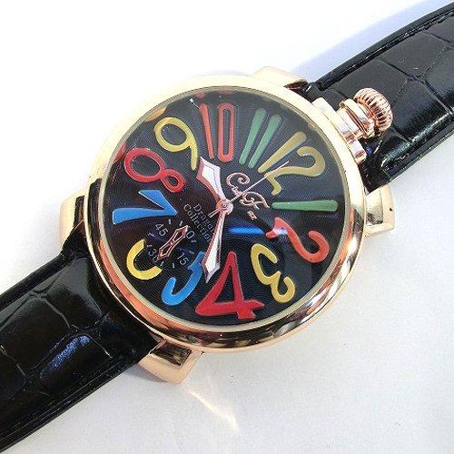 ブラック&ブラック(B) トップリューズ式ビッグフェイス腕時計 マルチカラー文字盤47mm GaGa MILANO ガガミラノ好きに(全7色)