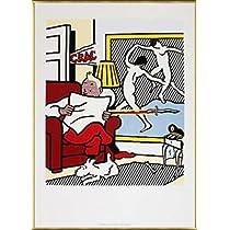 ポスター ロイ リキテンスタイン 新聞を読むタンタン 1993年 額装品 アルミ製ベーシックフレーム(ゴールド)