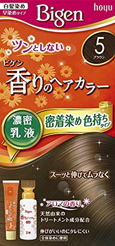 一回パンチ求人ホーユー ビゲン香りのヘアカラー乳液5 (ブラウン) 40g+60mL ×3個