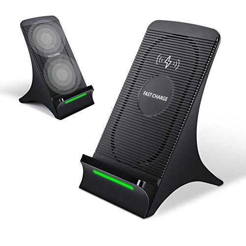 Qi 急速 ワイヤレス充電器 無線充電器 ワイヤレスチャージャー スタンド機能付き無線充電器 二重コイル搭載Qi急速ワイヤレス充電器 急速充電対応機種:Samsung:NOTE 5/S6 EDGE+/S7/S7 EDGE/NOTE 7/S8/S8 plus/NOTE 8 (黒い)
