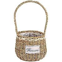 FORTEM 花かご ストローバスケット 植物ポット 手織りバスケット 家庭装飾花かご インテリア フラワーポット ハンドル付き 飾り物 B