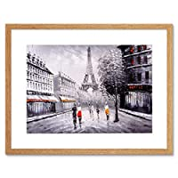 Eiffel Tower In Paris City Streets Art Print Framed Poster Wall Decor 12x16 inch エッフェル塔パリシティ通りポスター壁デコ