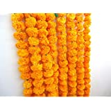 Craffair artificial marigold flower strings orange color, party backdrop, party decoration, Indian theme party decor, photo p