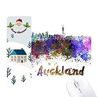 オークランドニュージーランド市の水彩画 サンタクロース家屋ゴムのマウスパッド