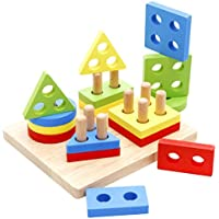 Lyus Shape Sorterおもちゃ木製パズル幼児教育Preschool Toys図形認識幾何ブロックStacking Games for Kids