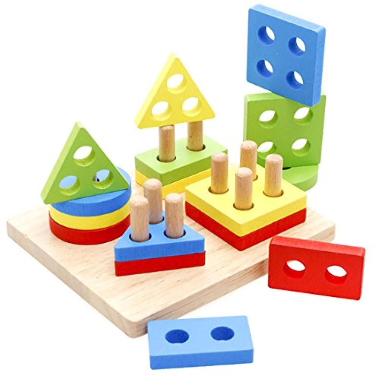 Lyus Shape Sorterおもちゃ木製パズル幼児教育Preschool Toys図形認識幾何ブロックStacking Games for Kids