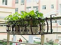 19-yiruculture ホームガーデニング錬鉄製のバルコニー手すり棚棚ぶら下げ窓辺のポットラックラック (Color : B)