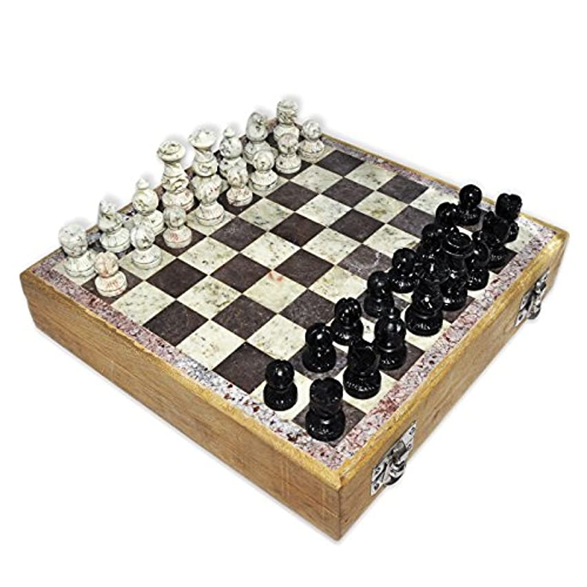 Wooden Chess Set Marble Pieces from India, 8