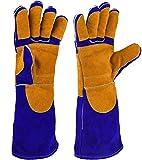 NKTM 電気溶接用の手袋 革製 五本指 ガーデン、溶接、 BBQなどに大活躍 熱や磨耗に強いグローブ