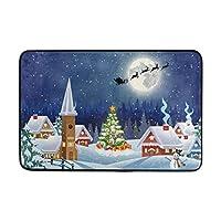 "Doormatsの非スリップの洗濯できるドアのマットの屋内屋外の入口の床のマット、鹿との冬の雪に覆われた夕方、23.6""x 15.8"""