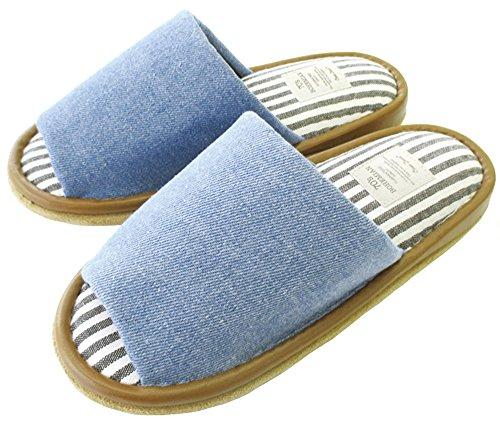 オクムラ AAAA7905BL ブルー デニム外縫いスリッパ L 家庭日用品