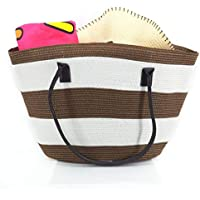 Women Handmade Straw Beach Bag, Straw Tote, Straw Handbag with Leather Handle for Summer