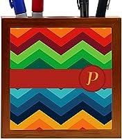 Rikki Knight Letter P Initial on Zig Zag Design 5-Inch Tile Wooden Tile Pen Holder (RK-PH45877) [並行輸入品]