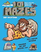 101 Mazes For Kids: SUPER KIDZ Book. Children - Ages 4-8 (US Edition). Dinosaur Caveman relaxing custom art interior. 101 Puzzles with solutions - Easy to Very Hard learning levels -Unique challenges and ultimate mazes book for fun activity time!