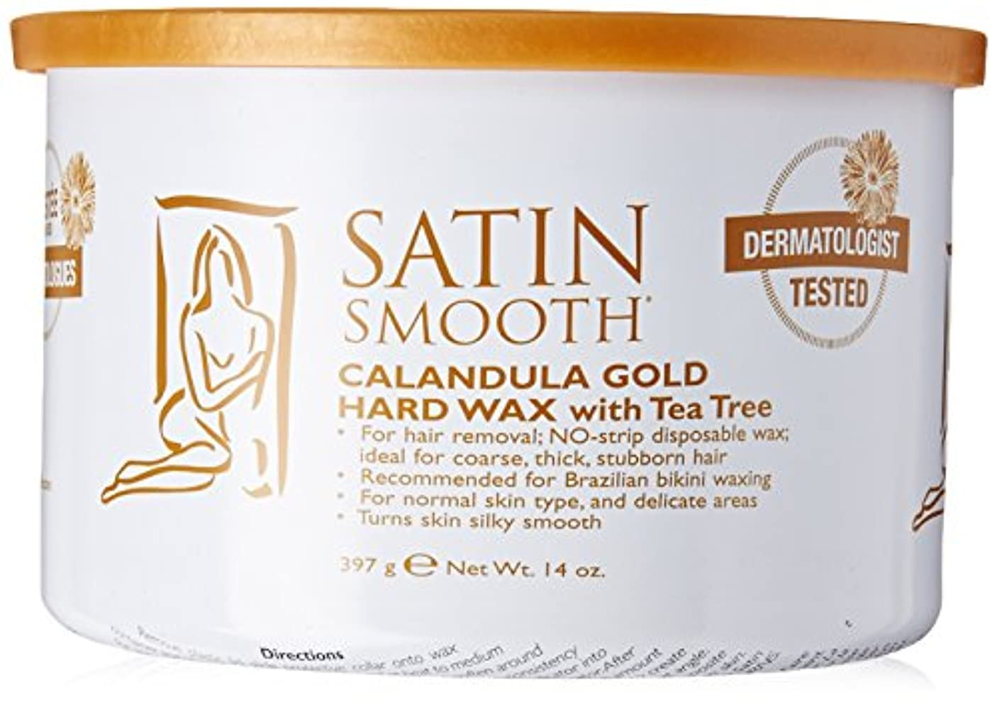 百万導入する反逆者Satin Smooth Calendula Gold Hard Wax With Tea Tree Oil (並行輸入品)