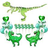 SECOWEL 恐竜パーティー用品 恐竜 ハッピーバースデー バナー ジュラシックワールドパーティー用品キット パーティーデコレーションセット グリーン恐竜パーティーバルーン カップケーキトッパーピック 子供誕生日